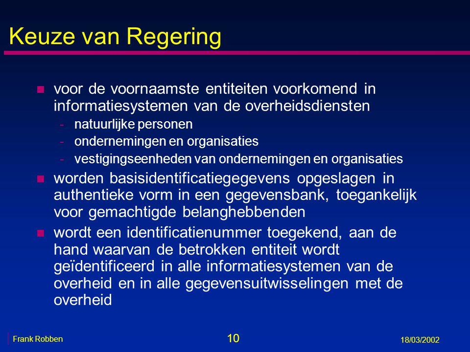 10 Frank Robben 18/03/2002 Keuze van Regering n voor de voornaamste entiteiten voorkomend in informatiesystemen van de overheidsdiensten -natuurlijke