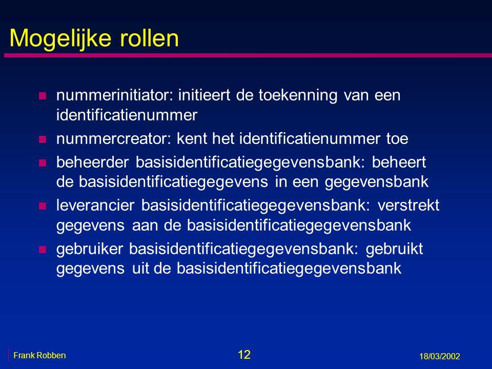 12 Frank Robben 18/03/2002 Mogelijke rollen n nummerinitiator: initieert de toekenning van een identificatienummer n nummercreator: kent het identific