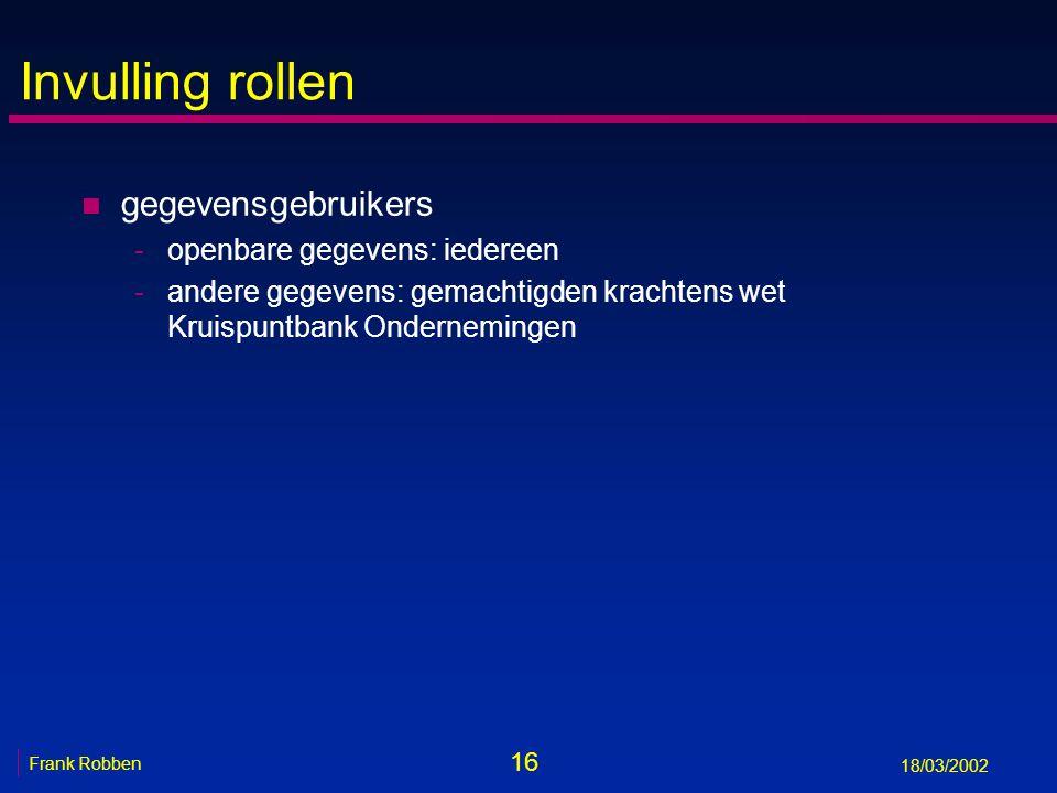 16 Frank Robben 18/03/2002 Invulling rollen n gegevensgebruikers -openbare gegevens: iedereen -andere gegevens: gemachtigden krachtens wet Kruispuntba