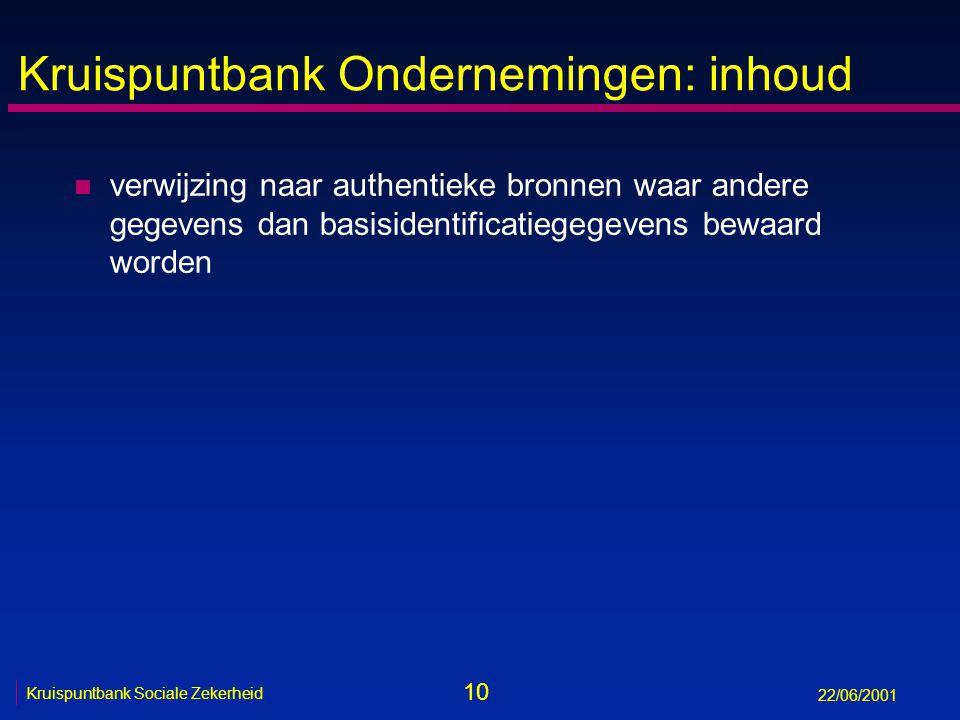 10 Kruispuntbank Sociale Zekerheid 22/06/2001 Kruispuntbank Ondernemingen: inhoud n verwijzing naar authentieke bronnen waar andere gegevens dan basisidentificatiegegevens bewaard worden
