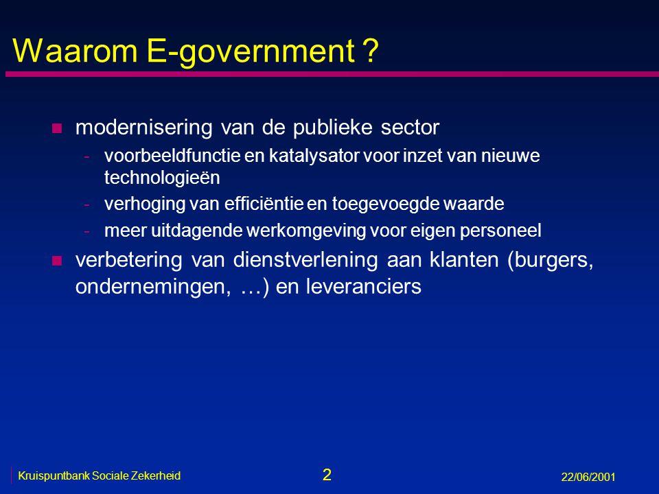 2 Kruispuntbank Sociale Zekerheid 22/06/2001 Waarom E-government .