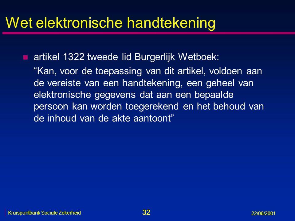 32 Kruispuntbank Sociale Zekerheid 22/06/2001 Wet elektronische handtekening n artikel 1322 tweede lid Burgerlijk Wetboek: Kan, voor de toepassing van dit artikel, voldoen aan de vereiste van een handtekening, een geheel van elektronische gegevens dat aan een bepaalde persoon kan worden toegerekend en het behoud van de inhoud van de akte aantoont