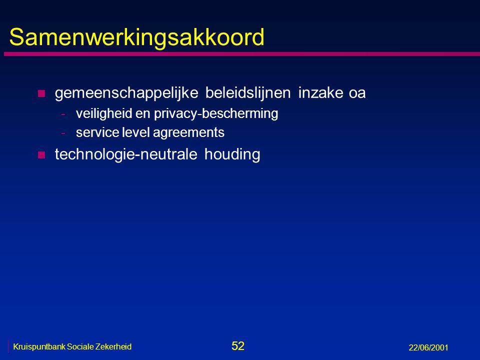 52 Kruispuntbank Sociale Zekerheid 22/06/2001 Samenwerkingsakkoord n gemeenschappelijke beleidslijnen inzake oa -veiligheid en privacy-bescherming -service level agreements n technologie-neutrale houding