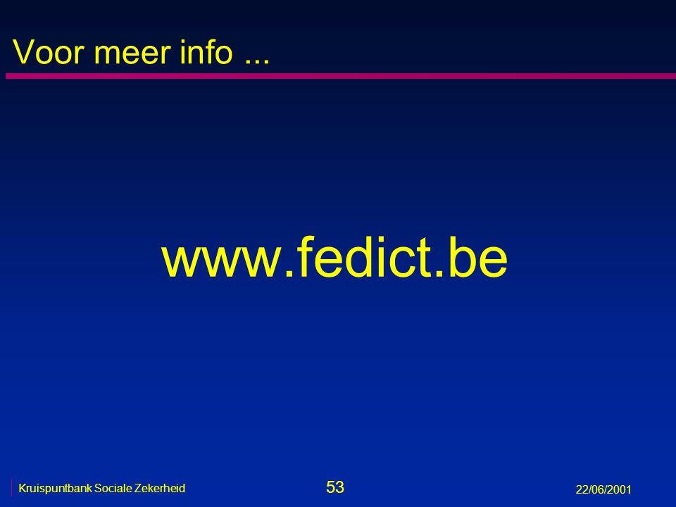 53 Kruispuntbank Sociale Zekerheid 22/06/2001 Voor meer info... www.fedict.be
