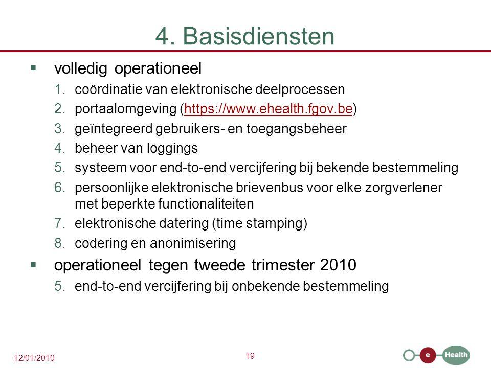 19 12/01/2010 4. Basisdiensten  volledig operationeel 1.coördinatie van elektronische deelprocessen 2.portaalomgeving (https://www.ehealth.fgov.be)ht