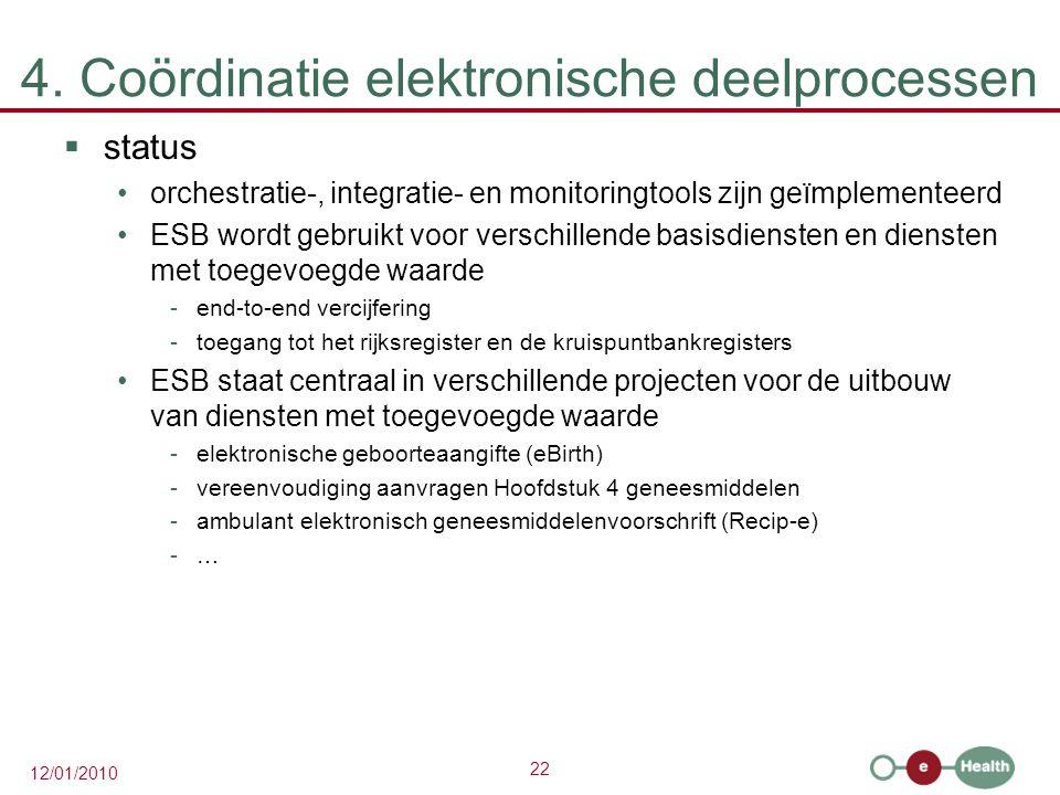 22 12/01/2010 4. Coördinatie elektronische deelprocessen  status orchestratie-, integratie- en monitoringtools zijn geïmplementeerd ESB wordt gebruik