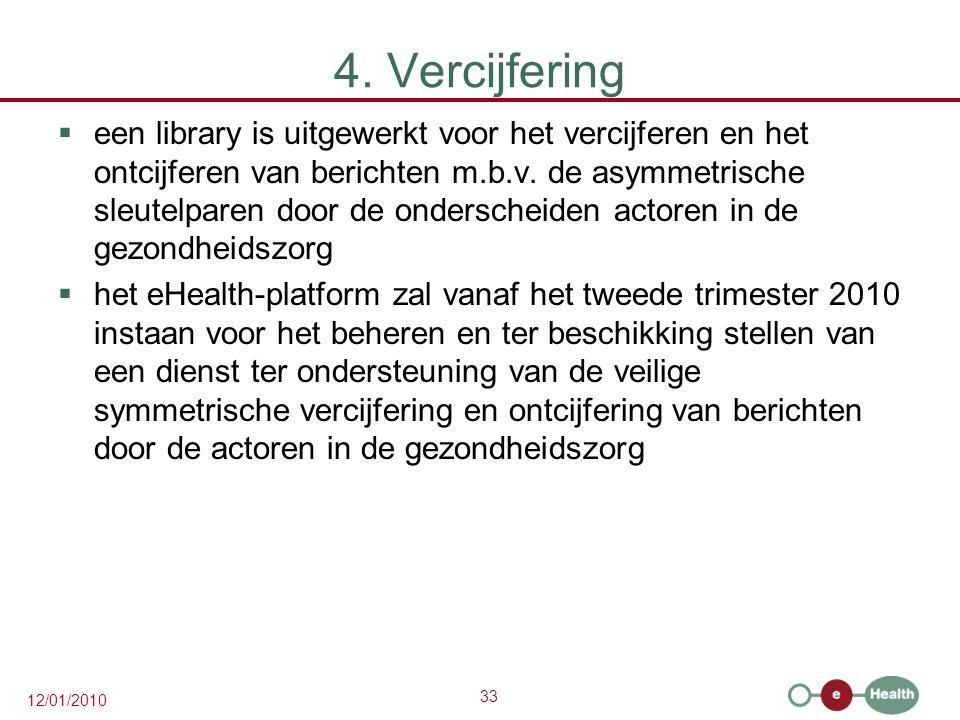 33 12/01/2010 4. Vercijfering  een library is uitgewerkt voor het vercijferen en het ontcijferen van berichten m.b.v. de asymmetrische sleutelparen d