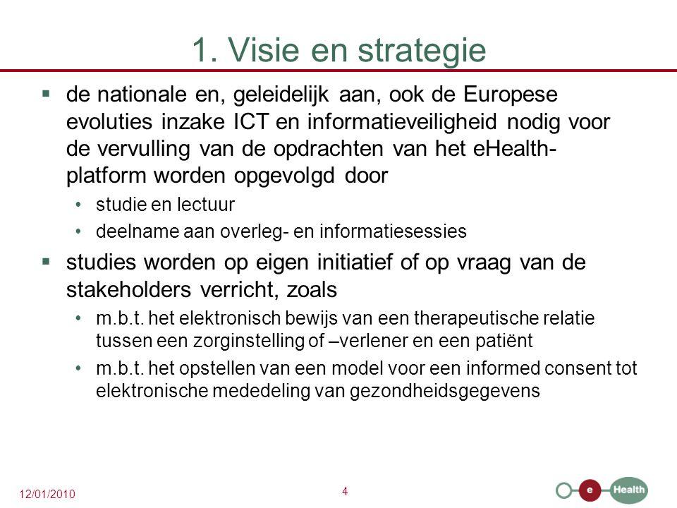 4 12/01/2010 1. Visie en strategie  de nationale en, geleidelijk aan, ook de Europese evoluties inzake ICT en informatieveiligheid nodig voor de verv