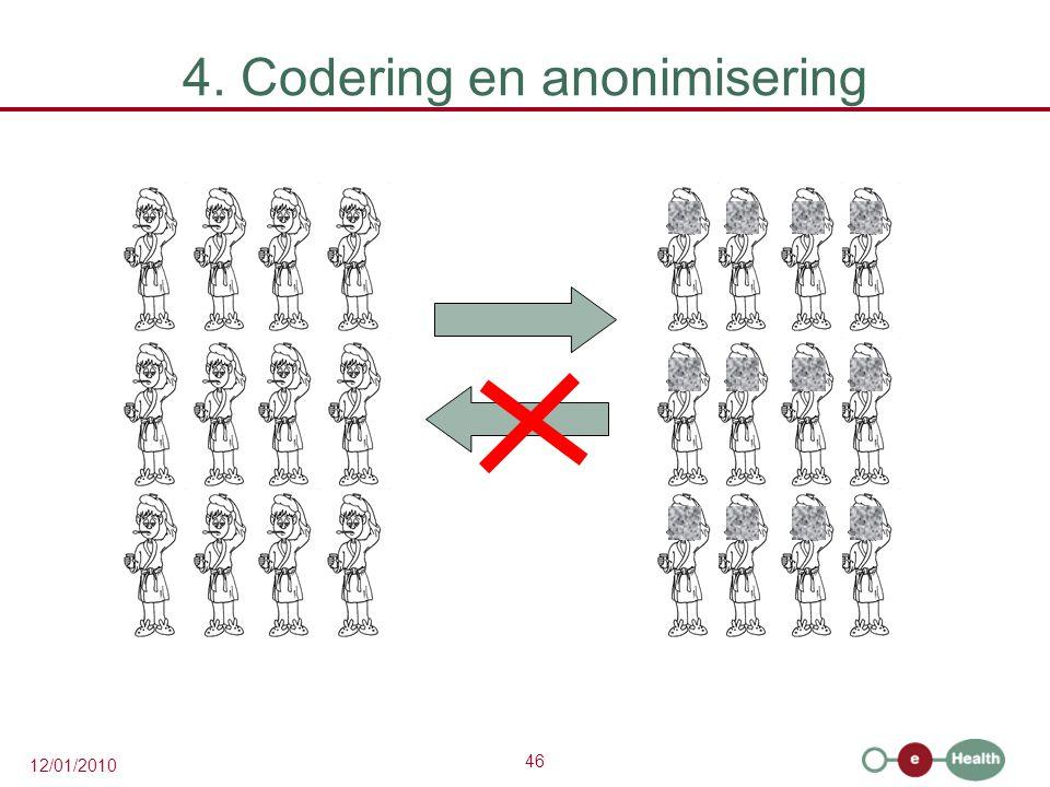 46 12/01/2010 4. Codering en anonimisering