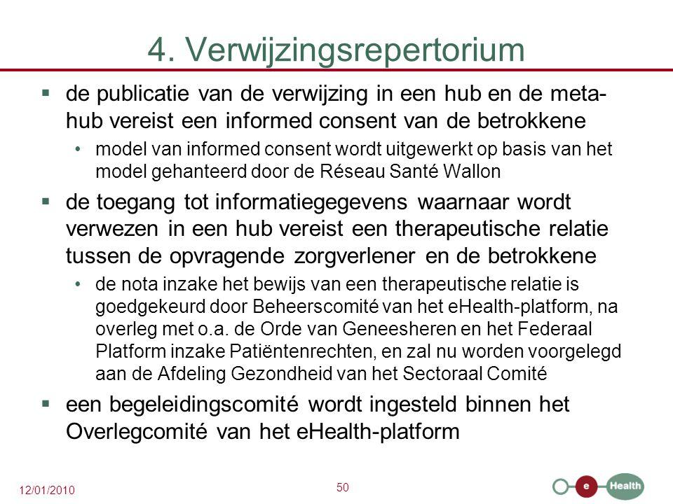 50 12/01/2010 4. Verwijzingsrepertorium  de publicatie van de verwijzing in een hub en de meta- hub vereist een informed consent van de betrokkene mo