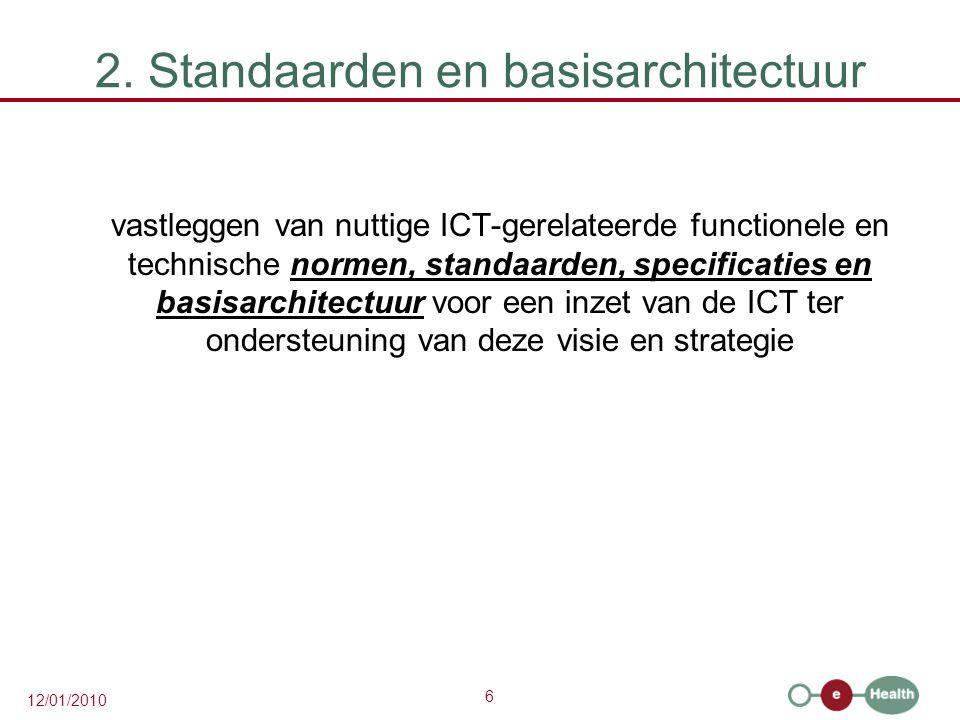 6 12/01/2010 2. Standaarden en basisarchitectuur vastleggen van nuttige ICT-gerelateerde functionele en technische normen, standaarden, specificaties