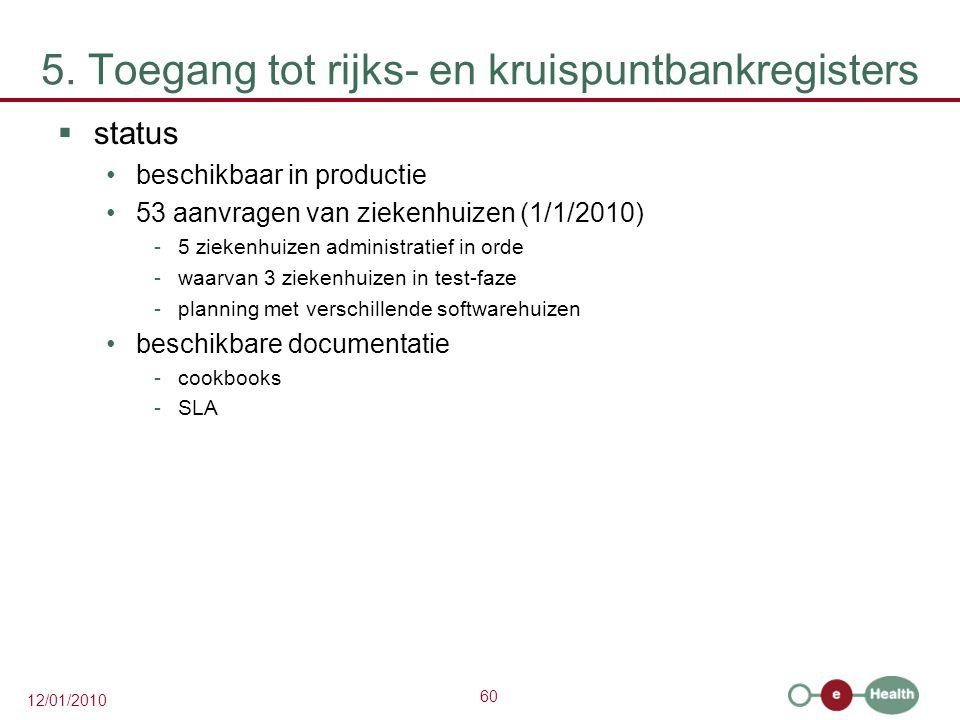 60 12/01/2010 5. Toegang tot rijks- en kruispuntbankregisters  status beschikbaar in productie 53 aanvragen van ziekenhuizen (1/1/2010) -5 ziekenhuiz