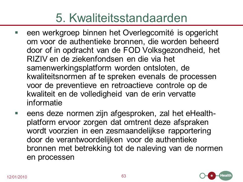 63 12/01/2010 5. Kwaliteitsstandaarden  een werkgroep binnen het Overlegcomité is opgericht om voor de authentieke bronnen, die worden beheerd door o
