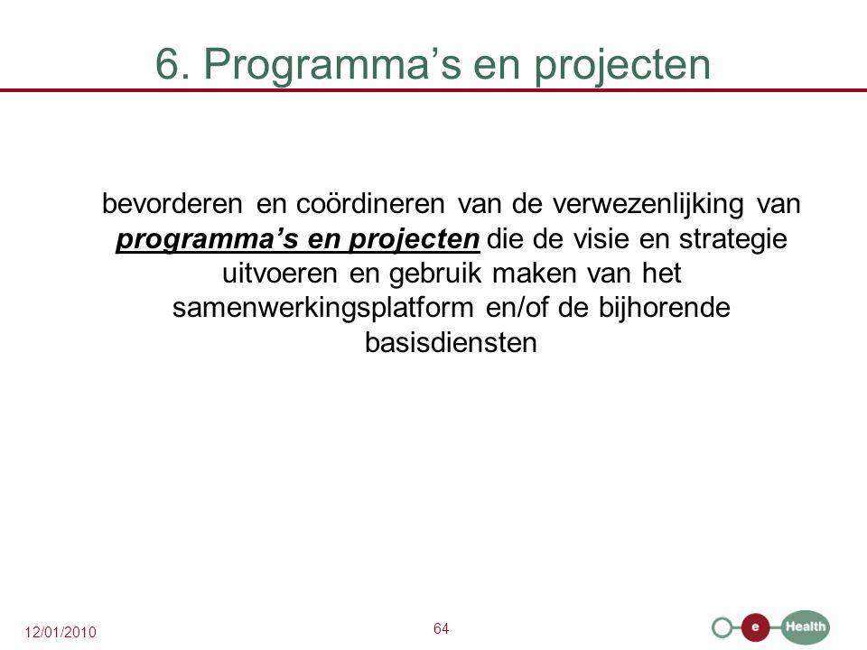 64 12/01/2010 6. Programma's en projecten bevorderen en coördineren van de verwezenlijking van programma's en projecten die de visie en strategie uitv