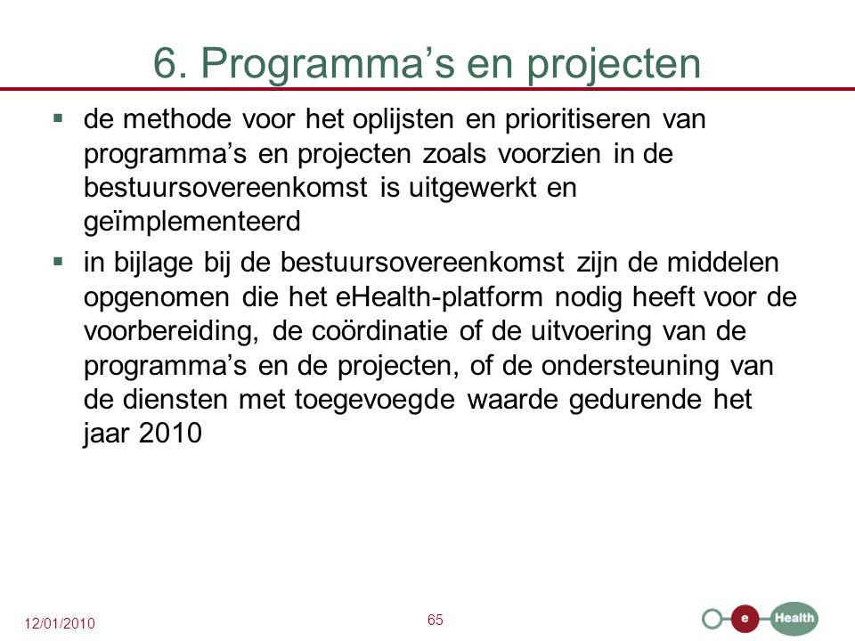 65 12/01/2010 6. Programma's en projecten  de methode voor het oplijsten en prioritiseren van programma's en projecten zoals voorzien in de bestuurso