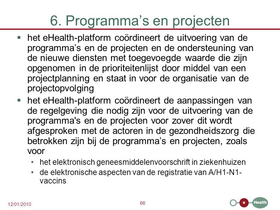 66 12/01/2010 6. Programma's en projecten  het eHealth-platform coördineert de uitvoering van de programma's en de projecten en de ondersteuning van