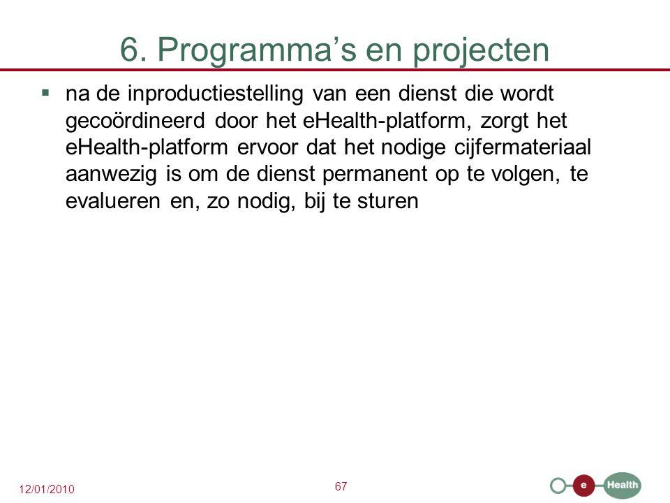 67 12/01/2010 6. Programma's en projecten  na de inproductiestelling van een dienst die wordt gecoördineerd door het eHealth-platform, zorgt het eHea