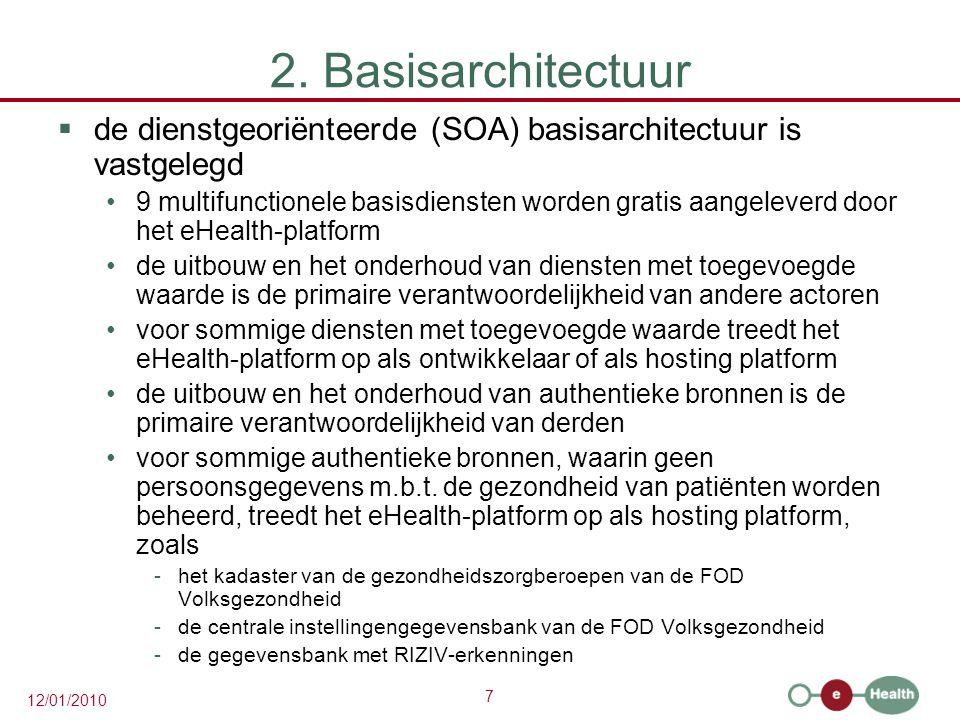 7 12/01/2010 2. Basisarchitectuur  de dienstgeoriënteerde (SOA) basisarchitectuur is vastgelegd 9 multifunctionele basisdiensten worden gratis aangel