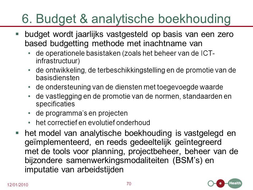 70 12/01/2010 6. Budget & analytische boekhouding  budget wordt jaarlijks vastgesteld op basis van een zero based budgetting methode met inachtname v