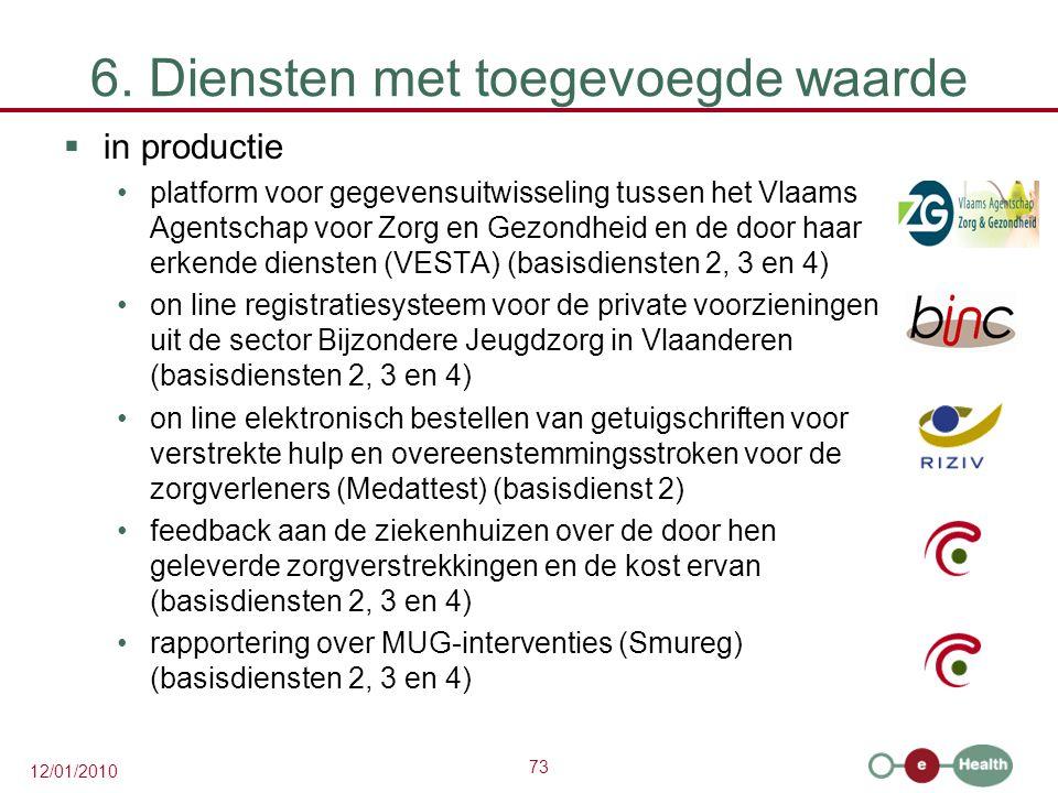 73 12/01/2010 6. Diensten met toegevoegde waarde  in productie platform voor gegevensuitwisseling tussen het Vlaams Agentschap voor Zorg en Gezondhei