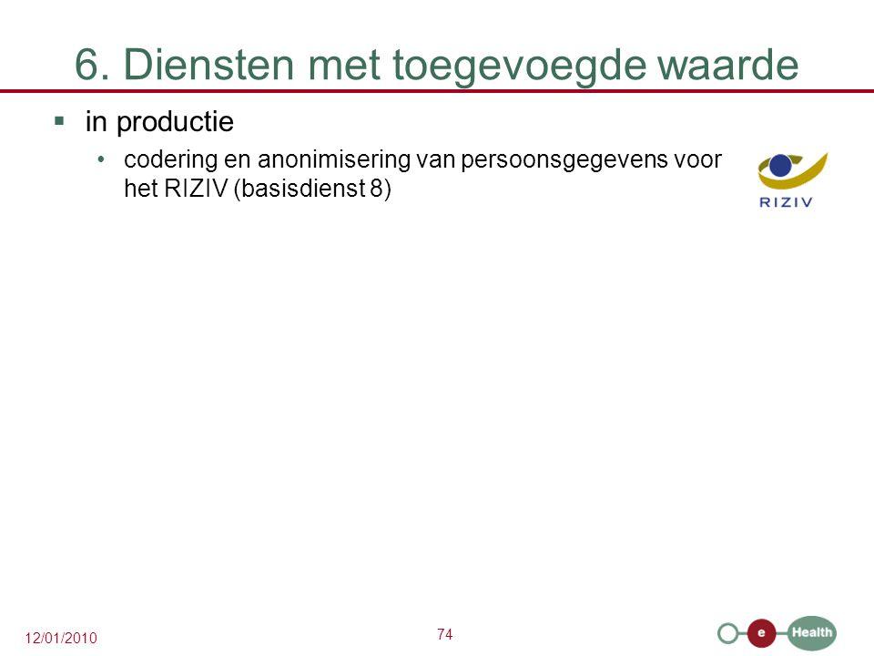 74 12/01/2010 6. Diensten met toegevoegde waarde  in productie codering en anonimisering van persoonsgegevens voor het RIZIV (basisdienst 8)