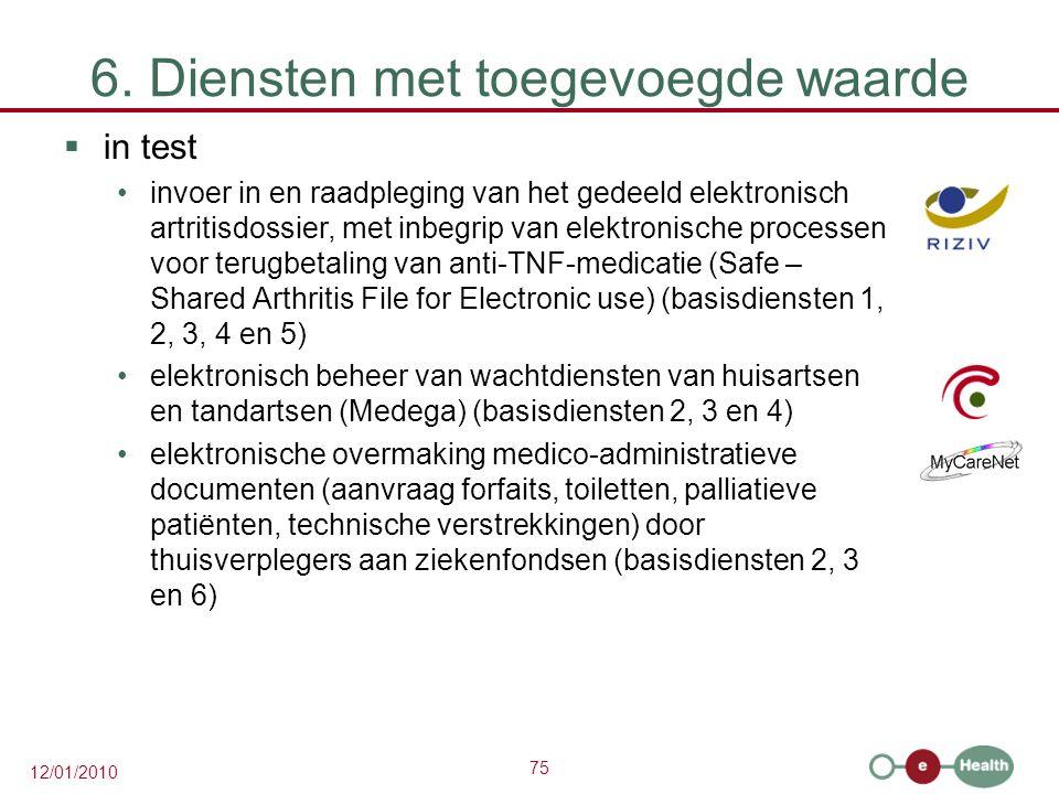 75 12/01/2010 6. Diensten met toegevoegde waarde  in test invoer in en raadpleging van het gedeeld elektronisch artritisdossier, met inbegrip van ele
