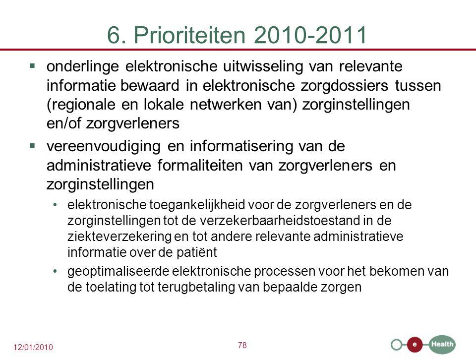 78 12/01/2010 6. Prioriteiten 2010-2011  onderlinge elektronische uitwisseling van relevante informatie bewaard in elektronische zorgdossiers tussen