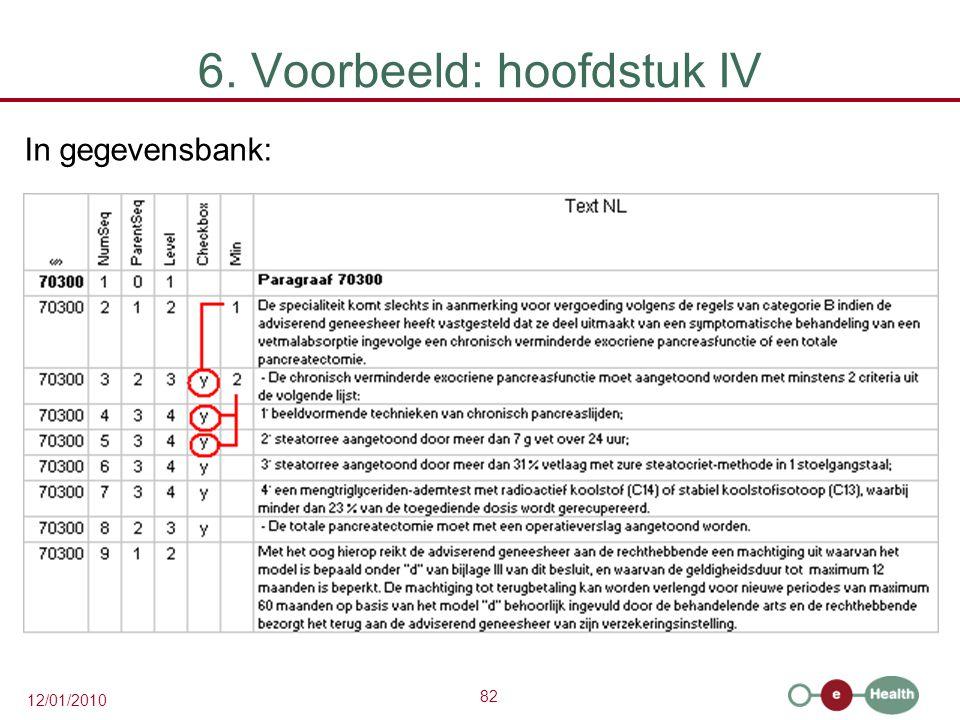 82 12/01/2010 6. Voorbeeld: hoofdstuk IV In gegevensbank: