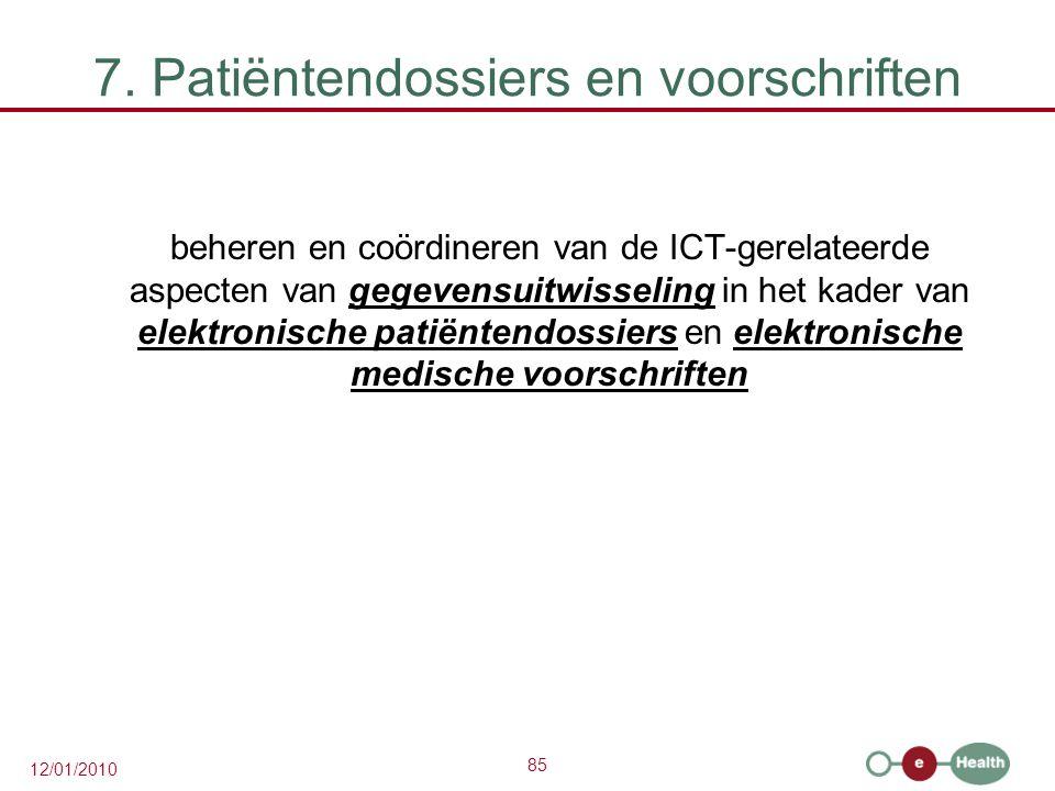 85 12/01/2010 7. Patiëntendossiers en voorschriften beheren en coördineren van de ICT-gerelateerde aspecten van gegevensuitwisseling in het kader van