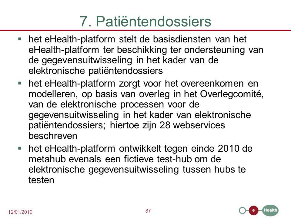 87 12/01/2010 7. Patiëntendossiers  het eHealth-platform stelt de basisdiensten van het eHealth-platform ter beschikking ter ondersteuning van de geg