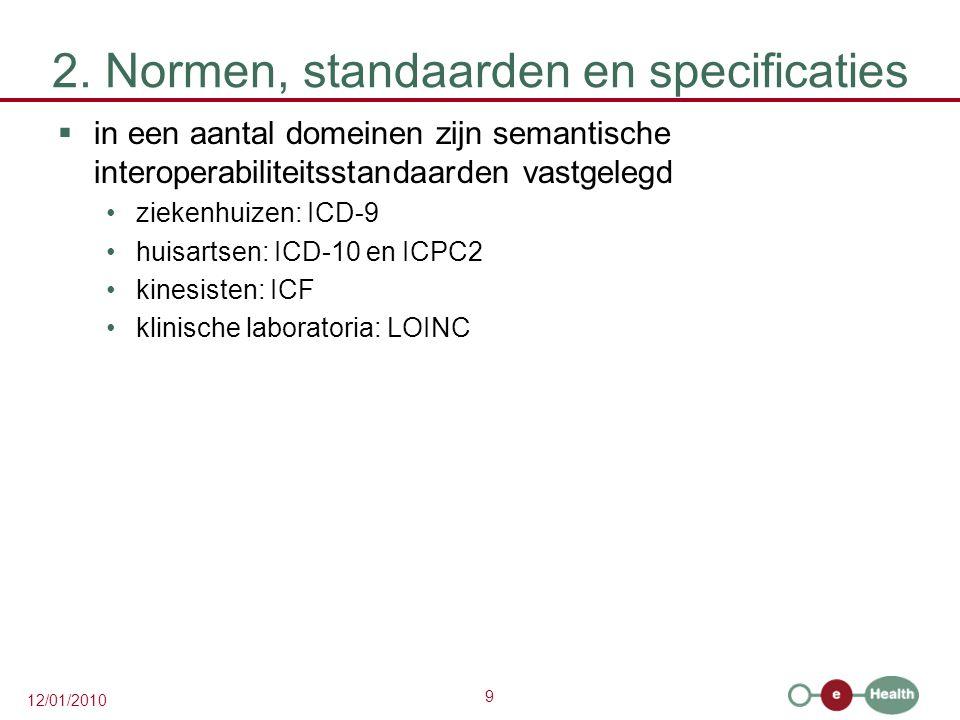 9 12/01/2010 2. Normen, standaarden en specificaties  in een aantal domeinen zijn semantische interoperabiliteitsstandaarden vastgelegd ziekenhuizen:
