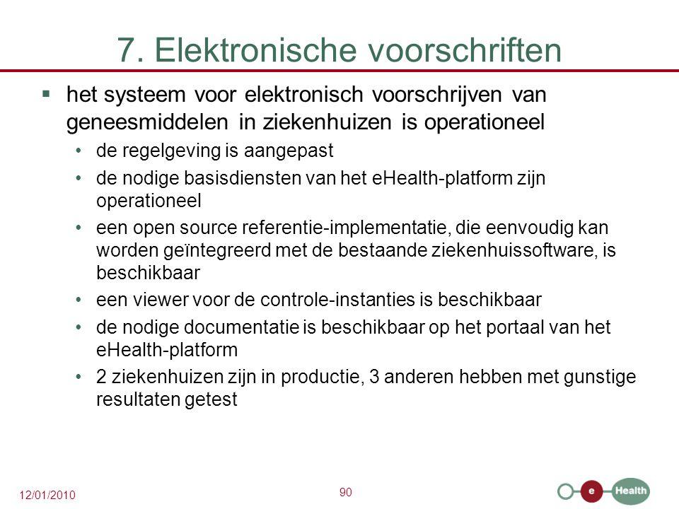 90 12/01/2010 7. Elektronische voorschriften  het systeem voor elektronisch voorschrijven van geneesmiddelen in ziekenhuizen is operationeel de regel