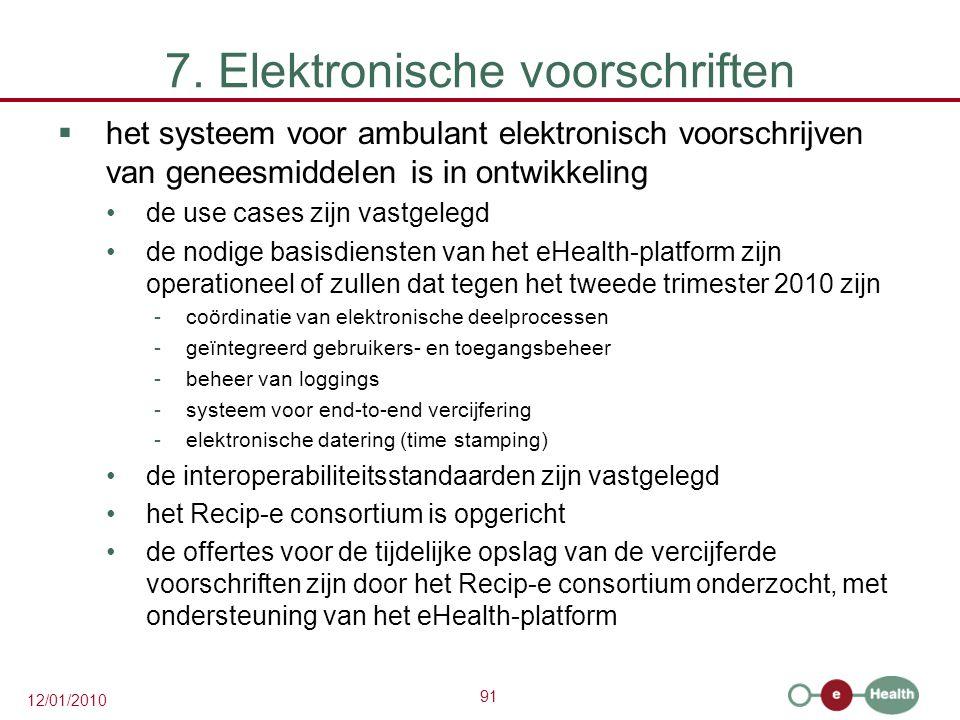 91 12/01/2010 7. Elektronische voorschriften  het systeem voor ambulant elektronisch voorschrijven van geneesmiddelen is in ontwikkeling de use cases