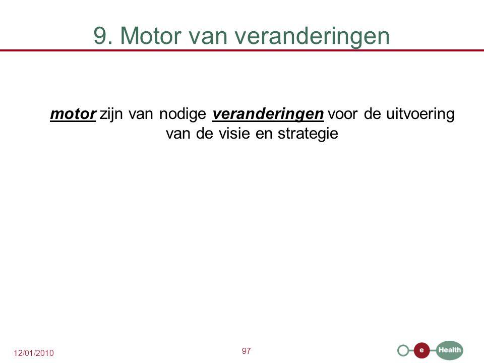 97 12/01/2010 9. Motor van veranderingen motor zijn van nodige veranderingen voor de uitvoering van de visie en strategie