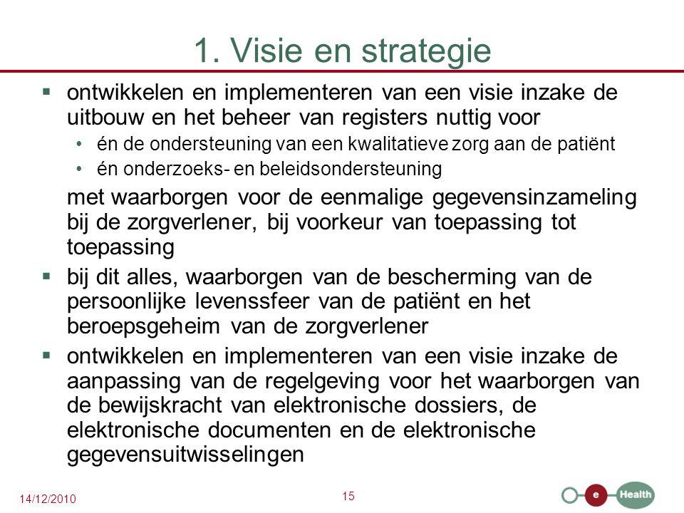 15 14/12/2010 1. Visie en strategie  ontwikkelen en implementeren van een visie inzake de uitbouw en het beheer van registers nuttig voor én de onder