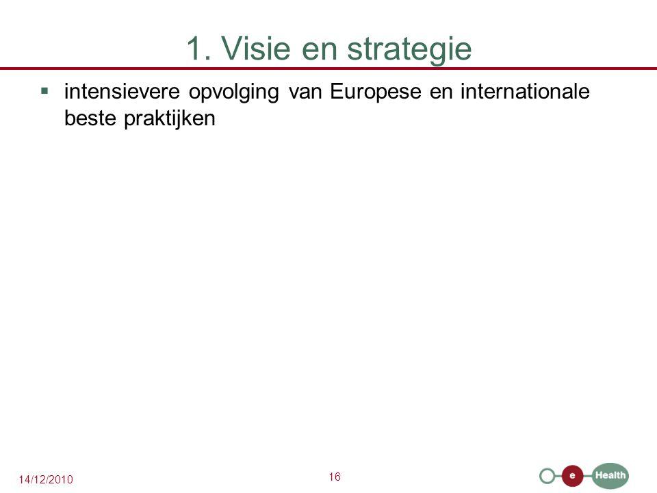 16 14/12/2010 1. Visie en strategie  intensievere opvolging van Europese en internationale beste praktijken