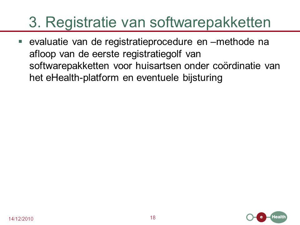 18 14/12/2010 3. Registratie van softwarepakketten  evaluatie van de registratieprocedure en –methode na afloop van de eerste registratiegolf van sof