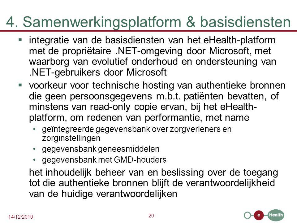 20 14/12/2010 4. Samenwerkingsplatform & basisdiensten  integratie van de basisdiensten van het eHealth-platform met de propriëtaire.NET-omgeving doo