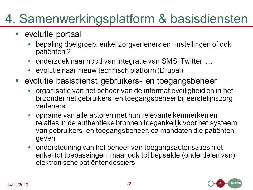 22 14/12/2010 4. Samenwerkingsplatform & basisdiensten  evolutie portaal bepaling doelgroep: enkel zorgverleners en -instellingen of ook patiënten ?