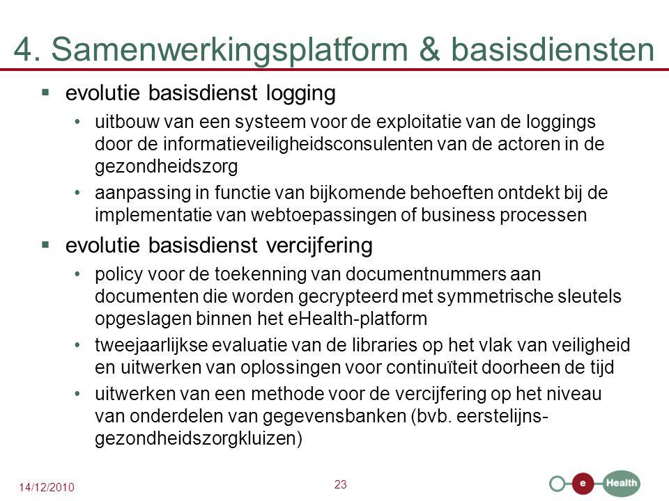 23 14/12/2010 4. Samenwerkingsplatform & basisdiensten  evolutie basisdienst logging uitbouw van een systeem voor de exploitatie van de loggings door