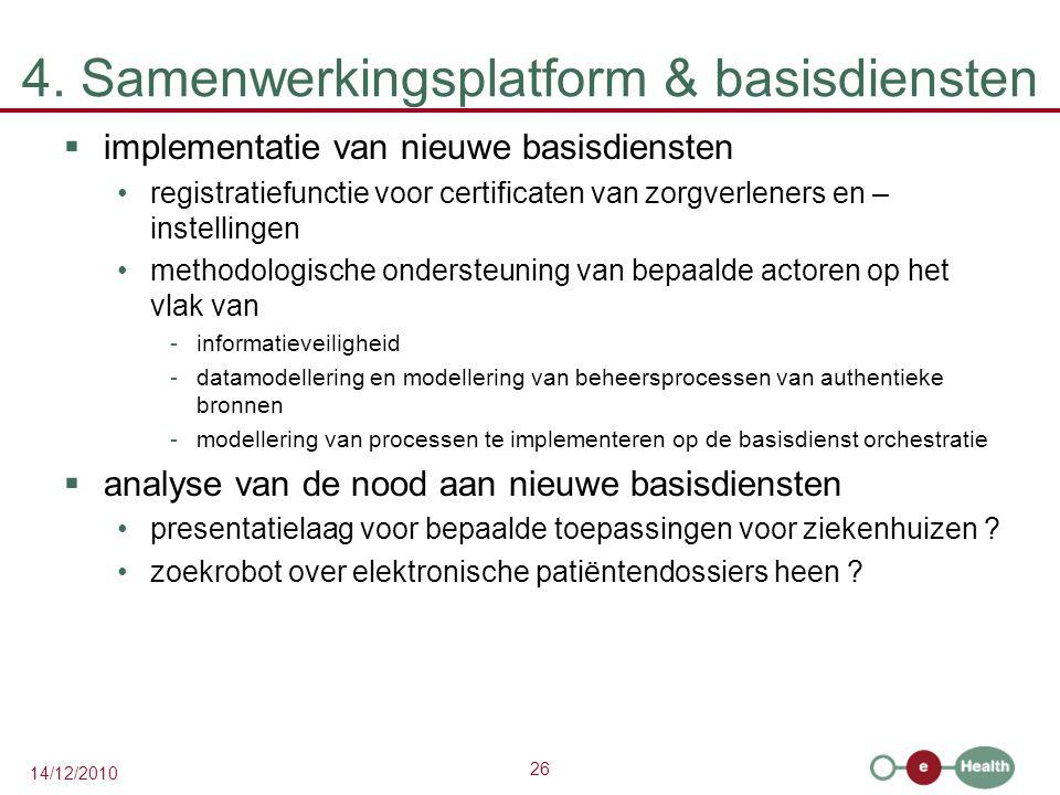 26 14/12/2010 4. Samenwerkingsplatform & basisdiensten  implementatie van nieuwe basisdiensten registratiefunctie voor certificaten van zorgverleners