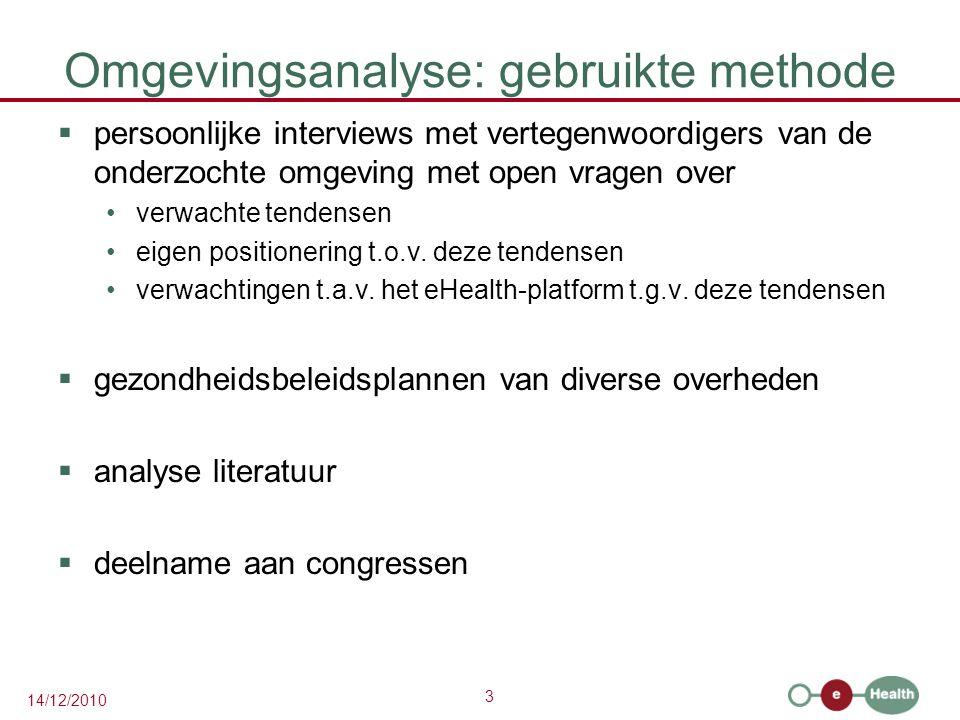 3 14/12/2010 Omgevingsanalyse: gebruikte methode  persoonlijke interviews met vertegenwoordigers van de onderzochte omgeving met open vragen over ver