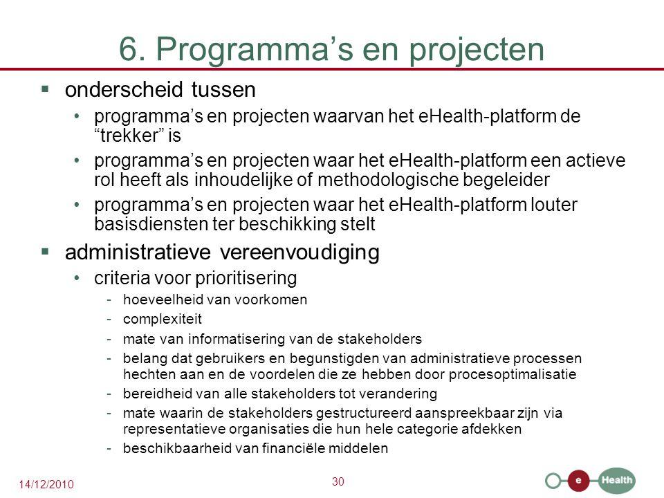 """30 14/12/2010 6. Programma's en projecten  onderscheid tussen programma's en projecten waarvan het eHealth-platform de """"trekker"""" is programma's en pr"""