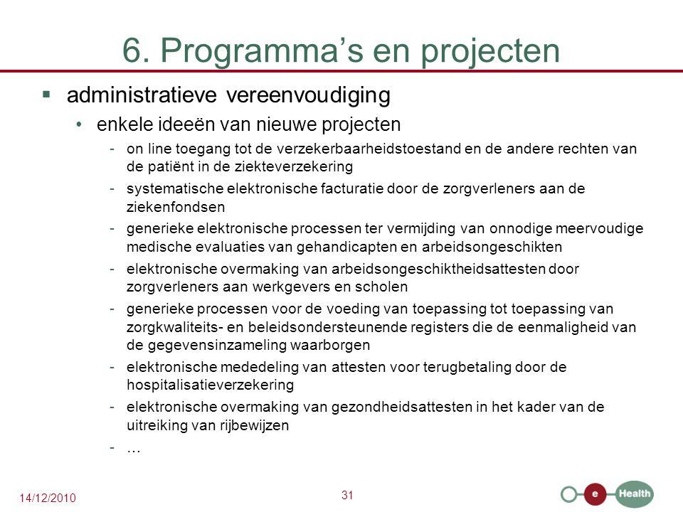 31 14/12/2010 6. Programma's en projecten  administratieve vereenvoudiging enkele ideeën van nieuwe projecten -on line toegang tot de verzekerbaarhei