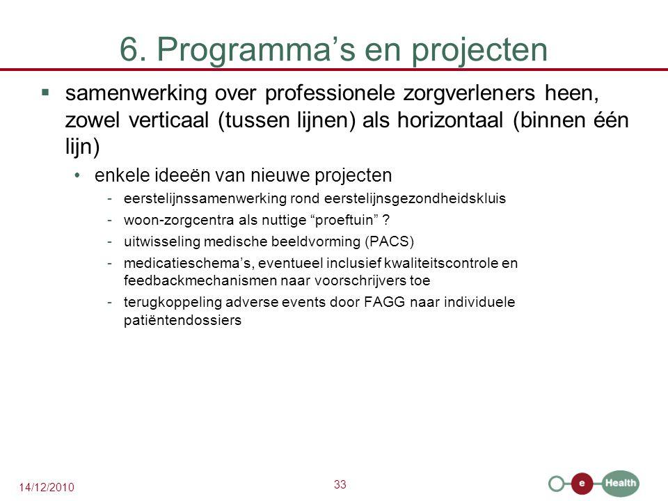 33 14/12/2010 6. Programma's en projecten  samenwerking over professionele zorgverleners heen, zowel verticaal (tussen lijnen) als horizontaal (binne