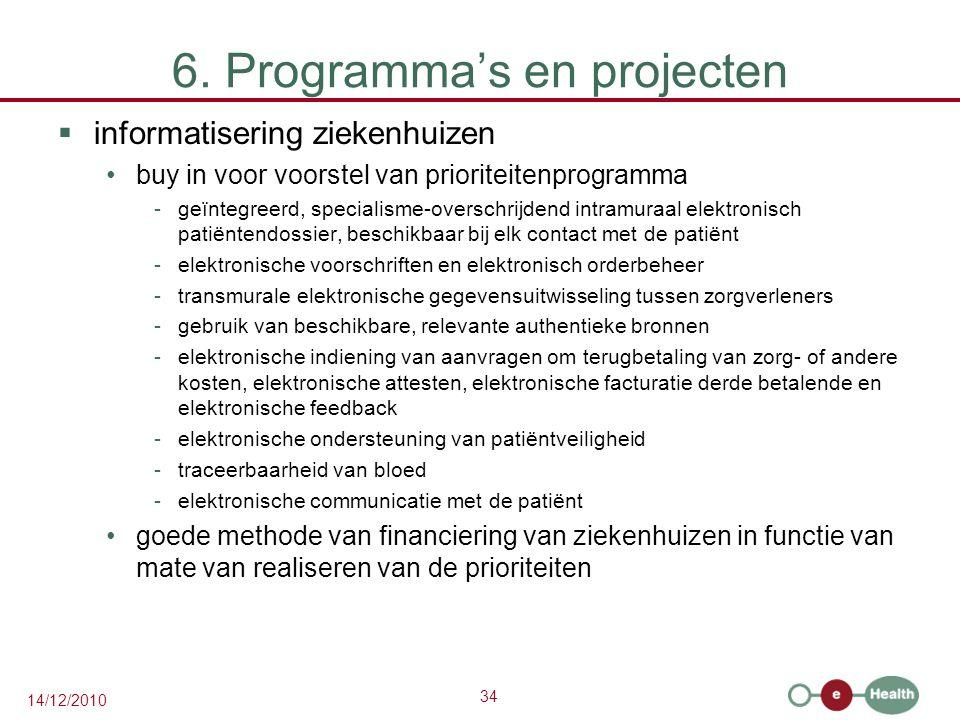 34 14/12/2010 6. Programma's en projecten  informatisering ziekenhuizen buy in voor voorstel van prioriteitenprogramma -geïntegreerd, specialisme-ove