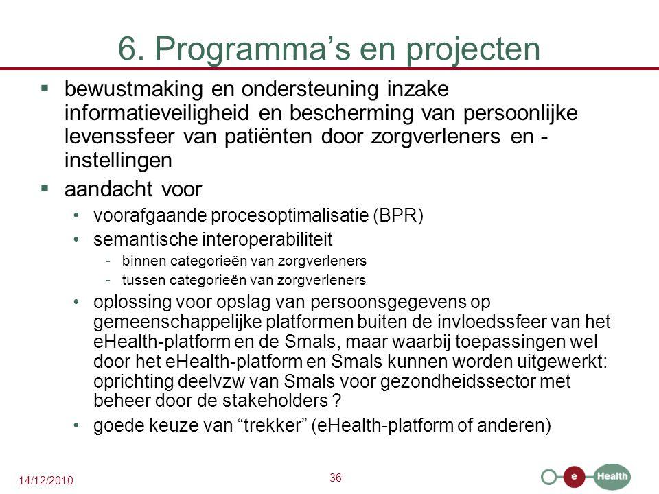 36 14/12/2010 6. Programma's en projecten  bewustmaking en ondersteuning inzake informatieveiligheid en bescherming van persoonlijke levenssfeer van