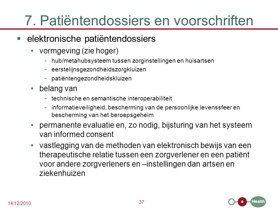37 14/12/2010 7. Patiëntendossiers en voorschriften  elektronische patiëntendossiers vormgeving (zie hoger) -hub/metahubsysteem tussen zorginstelling