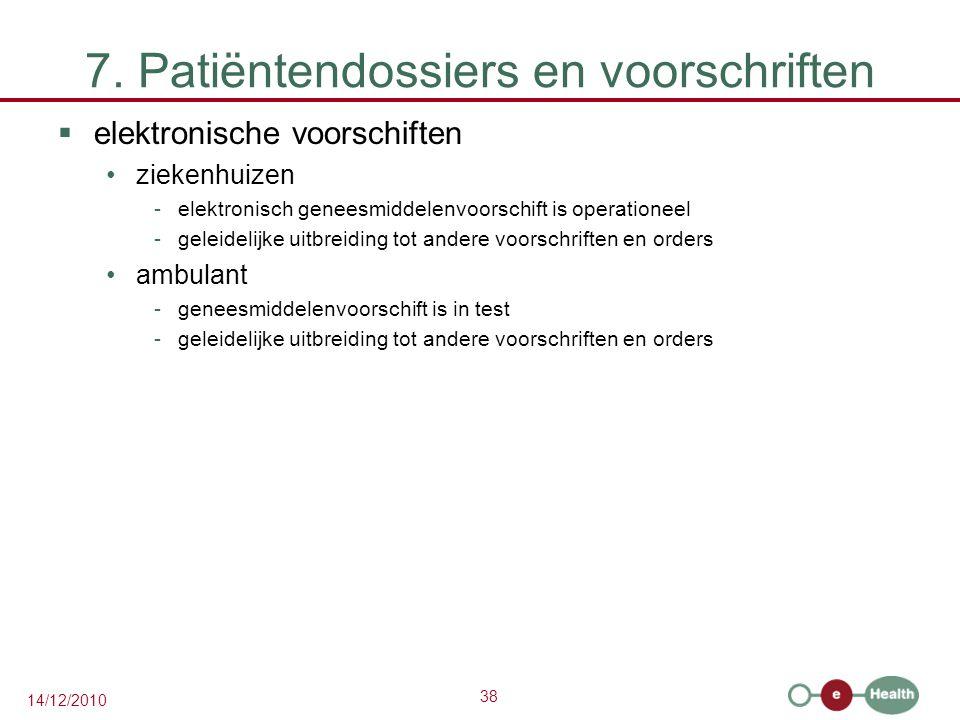 38 14/12/2010 7. Patiëntendossiers en voorschriften  elektronische voorschiften ziekenhuizen -elektronisch geneesmiddelenvoorschift is operationeel -