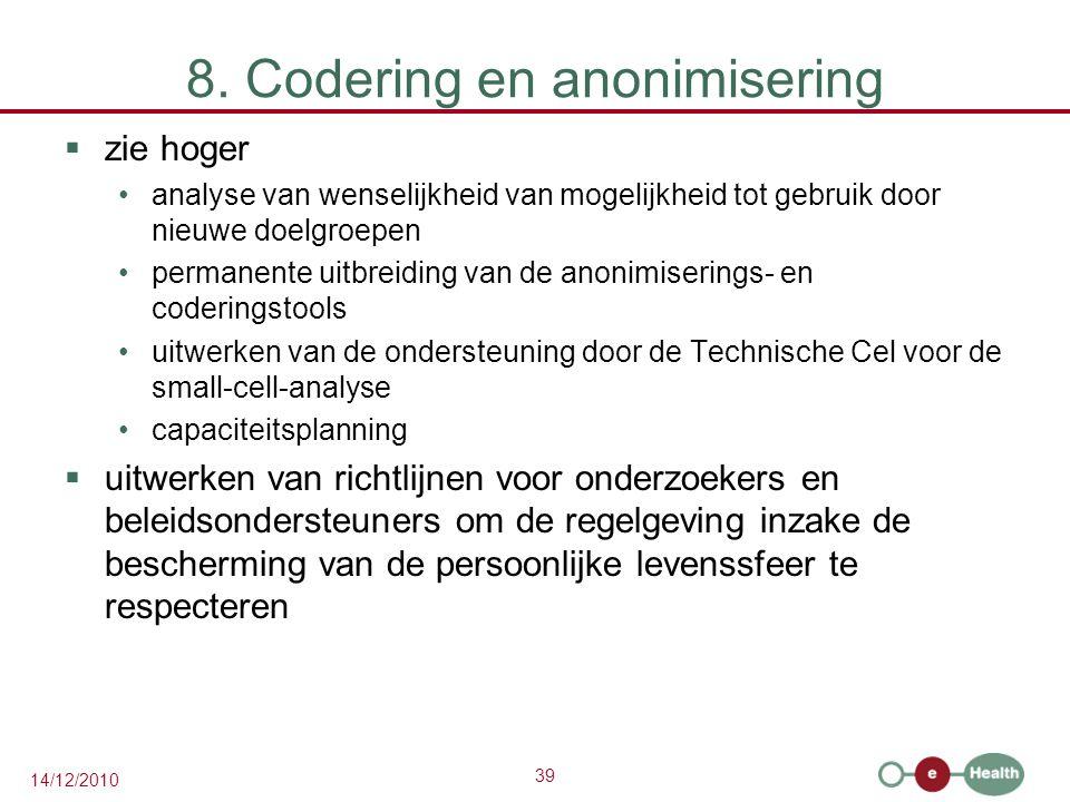 39 14/12/2010 8. Codering en anonimisering  zie hoger analyse van wenselijkheid van mogelijkheid tot gebruik door nieuwe doelgroepen permanente uitbr